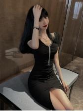 Summer Pleated V Neck Short Dress