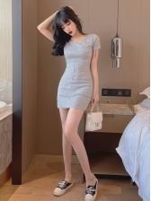 Sexy Solid V Neck Bodycon Dress