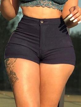 Plain Black High Waisted Denim Shorts