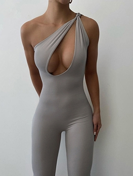 Inclined Shoulder Hollow Out Solid Sexy Jumpsuit