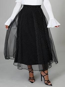 Casual High Waist Dot Maxi Skirt