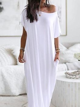 Solid Short Sleeve Casual Maxi Dress