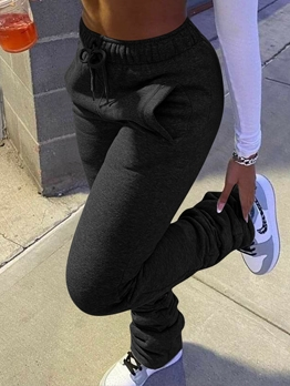 Casual Solid Color Drawstring Thicken Stacked Pants