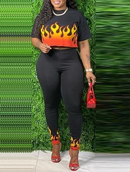 Fire Pattern Plus Size Two Piece Pants Set