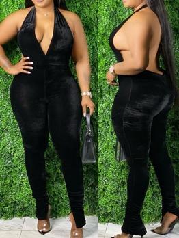 Velvet Halter Backless Jumpsuits For Women