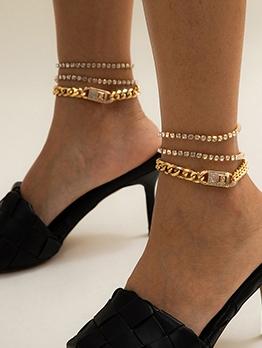 Punk Trendy Rhinestone Multilayer Anklet Accessories