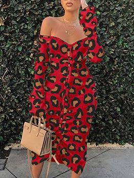 Leopard Printed Long Sleeve Midi Dress