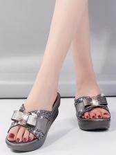 Rhinestone Decor Height Increasing Wedge Slippers
