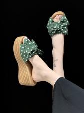 Bow Polka Dots Slipper Platform Wedges