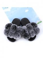 Round Toe Solid Fur Children's Slipper Shoes
