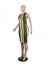 Color Block Striped Sleeveless Summer Dresses