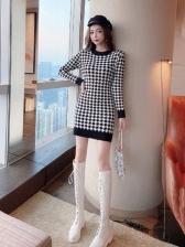 Fashion Houndstooth Design Long Sleeve Dress