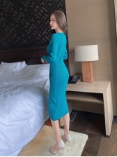 Casual Fitted Solid Long Sleeve Midi Dress For Women