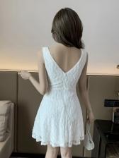 Lace Patchwork Sexy V Neck Sleeveless Short Dress