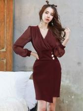 Spring Solid V Neck Skinny Long Sleeve Dress