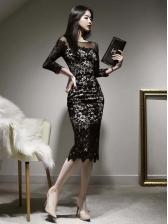 Korean Lace Patchwork Long Sleeve Black Dresses