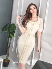 Temperament V Neck OL Style Short Sleeve Dress