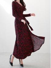 Vintage Fashion Print Maxi Dresses For Ladies
