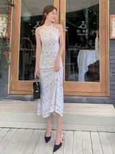 Summer Elegant Backless Lace Maxi Dresses Ladies