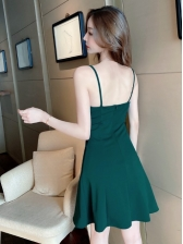 Backless Solid Sexy V Neck Camisole Dress