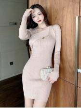 Latest Style Solid Knitted Long Sleeve Bodycon Dress