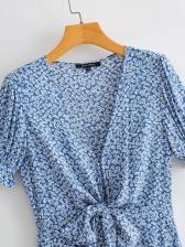 V Neck Print Ruffle Short Sleeve Dress