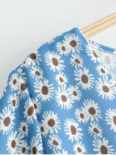 Casual Print V Neck Flare Sleeve Dress