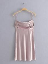 Sexy Solid Sleeveless Short Dress
