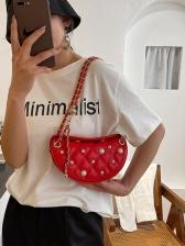 Faux Pearl RhombusPlaid Shoulder Bags