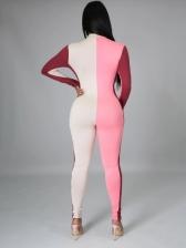 Casual Contrast Color Ladies Jumpsuit
