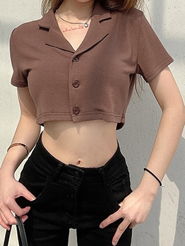 Summer Cropped Button Up T Shirt