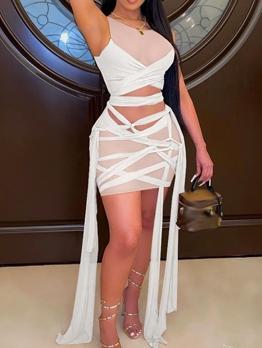 Sexy Gauze Perspective Nightclub Sleeveless Dress