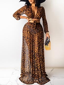 Leopard Chiffon Tie-Wrap 2 Piece Skirt Set
