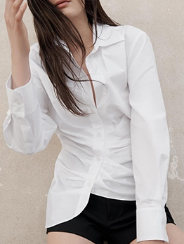 Simple Ruched Long Sleeve Women White Blouse