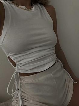 Side Drawstring Women White Tank Top