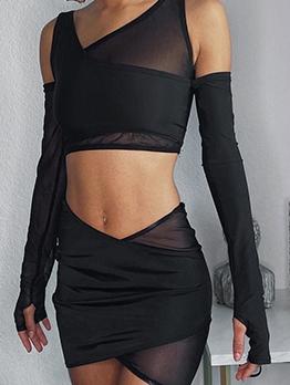 Sexy Gauze Irregular Two Piece Skirt Set
