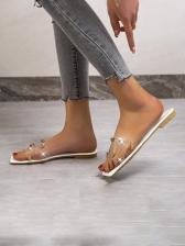 Stylish Square Toe Rivets Womens Slippers