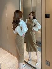 Casual Patchwork Sleeve Stylish Midi Dresses