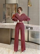 Autumn V Neck Knit Two Pieces Pants Sets Solid