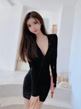 Versatile Solid Long Sleeve Bodycon Dress For Women