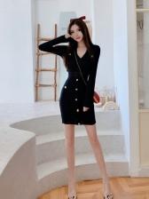 Knitted Long Sleeve V Neck Skinny Black Dresses