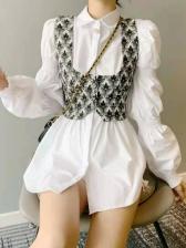 Vintage Lantern Sleeve Blouse Two Pieces Dresses