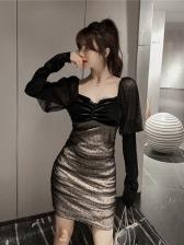 Patchwork Gauze Sexy Long Sleeve Sheath Dress