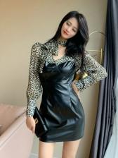 Vintage Leopard Patchwork Pu Long Sleeve Dress