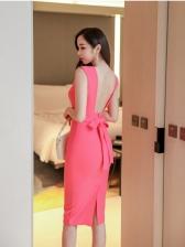 Work Formal Backless Sleeveless Sheath Dress
