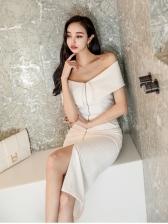 Korean OL Style Off Shoulder Zipper Solid Bodycon Dress