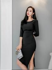Fitted Black Irregular Hem Half Sleeve Sheath Dress