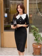 Korean Style Doll Collar Sheath Dress For Women