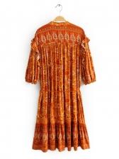 Vintage Print Stand Collar Short Sleeve Dress