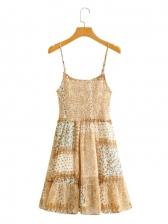 Print Ruched Sleeveless Short Dress